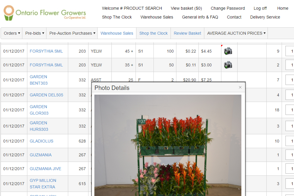E-Shop webshop Ontario Flower Growers Canada
